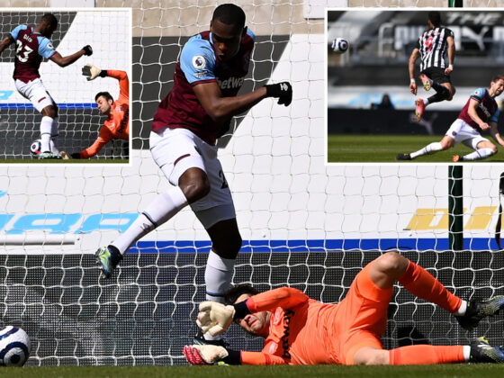 Watch comedy of errors as West Ham's Issa Diop scores own goal and Craig Dawson sent off within seconds of each other