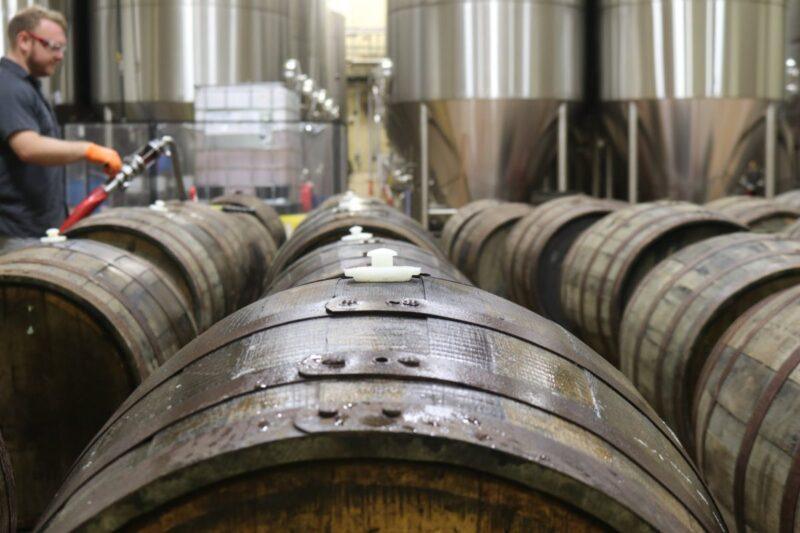 brown wooden barrel lot