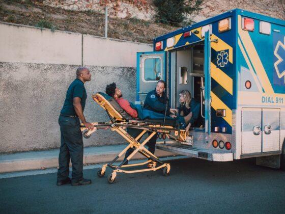 paramedics bringing man in a ambulance